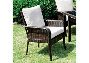 Shakira Ivory/Espresso Arm Chair (Set of 2)