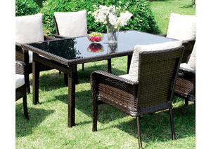 Shakira Ivory/Espresso Patio Dining Table