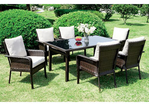 Shakira Ivory/Espresso Patio Dining Table w/6 Armed Chairs