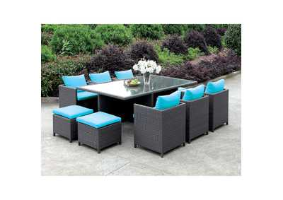 Ashanti Light Brown Wicker 11 Piece Patio Dining Set