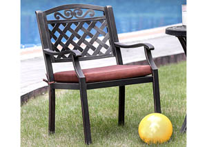 Jessa Antique Brass Patio Arm Chair (Set of 2)