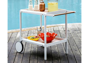 Kali White & Oak Outdoor Serving Cart