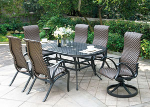 Chiara Dark Gray Oval Patio Dining Table w/2 Wicker Swivel Rocker Chairs and 4 Wicker Armed Chairs