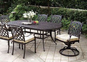 Chiara Dark Gray Oval Patio Dining Table