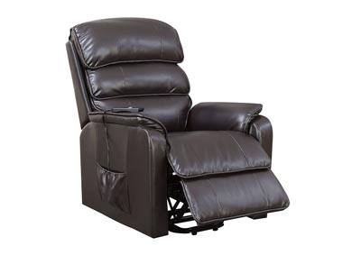 Flip Dark Brown Leatherette Power Recliner