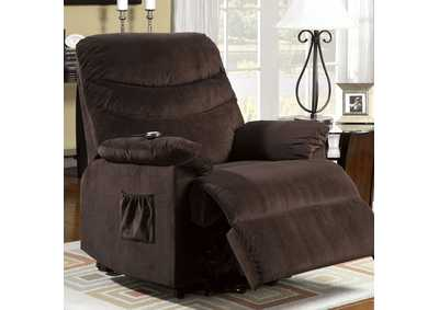 Perth Cocoa Brown Bella Fabric Power Lift Recliner