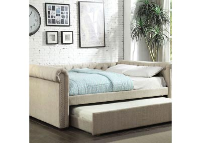 Leanna Beige Queen Daybed w/Trundle