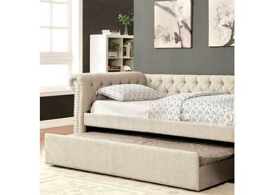 Leanna Beige Full Daybed w/Trundle