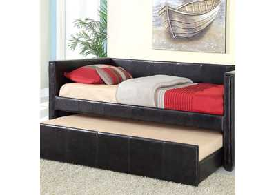 Cadiz Black Platform Daybed w/Twin Trundle & Casters