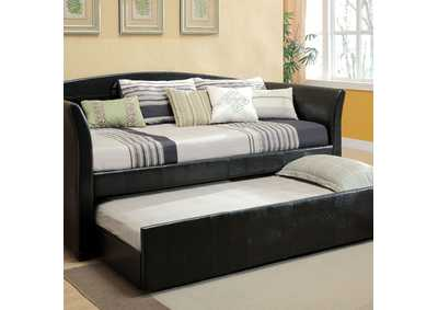 Delmar Black Daybed w/Twin Trundle & Casters