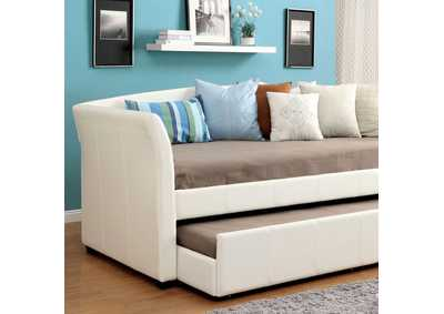 Delmar White Daybed w/Twin Trundle & Casters