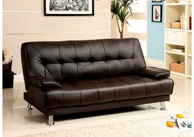 Beaumont Dark Brown Leatherette Futon Sofa
