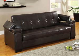 Logan Espresso Leatherette Futon Sofa W/Storage