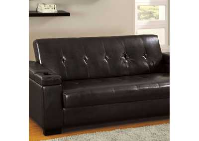 Image for Logan Espresso Leatherette Futon Sofa w/Storage