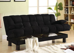 Image for Bonifa Black Elephant Skin Microfiber Futon Sofa w/Storage