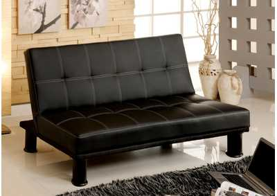 Image for Quinn Black Leatherette Futon Sofa