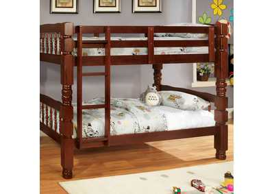 Carolina Cherry Twin/Twin Bunk Bed w/Dresser, Mirror and Nightstand
