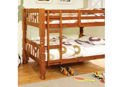 Carolina Oak Twin/Twin Bunk Bed w/Dresser, Mirror and Nightstand