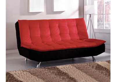 Malibu Red & Black Pillow Top Microfiber Futon Sofa
