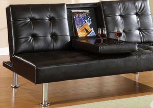 Orinda Black Leatherette Futon Sofa w/Flip-Down Center Table