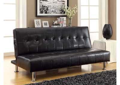 Bulle Black Leatherette Futon Sofa