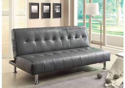 Bulle Gray Leatherette Futon Sofa