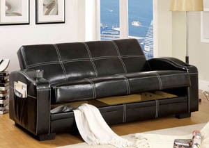 Colona Black Leatherette Futon Sofa w/Storage