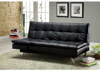 Hasty Black Leatherette Futon Sofa
