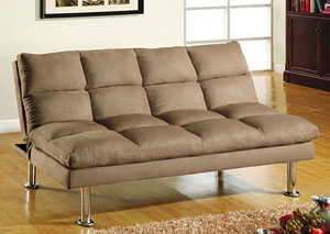 Saratoga Light Brown Microfiber Futon Sofa