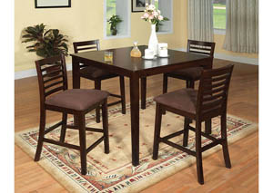 Eaton ll Espresso 5 Piece Square Counter Height Table Set