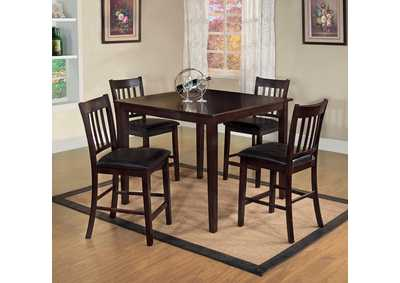 Northvalle ll Espresso 5 Piece Counter Height Table Set