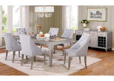 Diocles Silver 7 Piece Dining Table Set