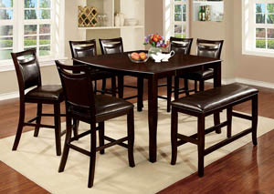 Woodside II Espresso Counter Height Table w/Bench and 6 Counter Height Chairs