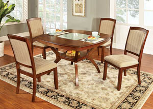 "Image for Redding l 48"" Oak Dining Table w/Cracked Glass Insert"