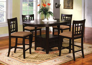 Metropolis Oval Extension Leaf Counter Height Table w/4 Counter Height Chairs