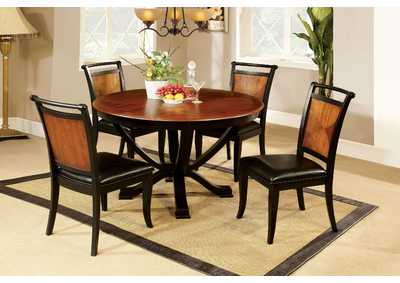 Salida l Black & Acacia Round Dining Table w/4 Side Chairs