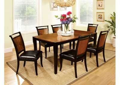 Salida l Black & Acacia Dining Table w/6 Side Chairs