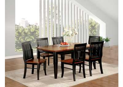 Earlham Black & Oak Dining Table w/4 Side Chairs