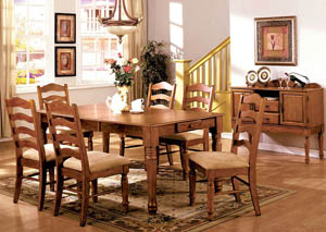 Spring Creek Oak Extension Dining Table w/4 Side Chairs