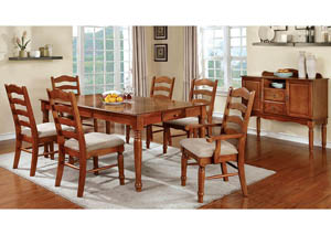 Spring Creek Oak Extension Dining Table w/4 Side Chairs & 2 Arm Chairs