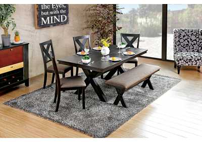 Xanthe Black Dining Table w/4 Side Chairs and Bench