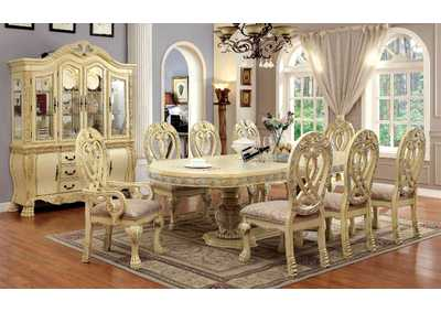 Wyndmere White Dining Table w/6 Side Chairs & 2 Arm Chairs