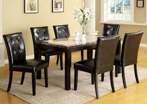 Atlas I Black Faux Marble Top Dining Table w/ 4 Side Chairs