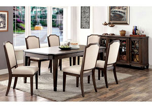 Haylee Wine-Brushed Brown Dining Table w/4 Side Chairs