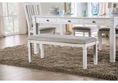 Kaliyah Antique White Upholstered Bench