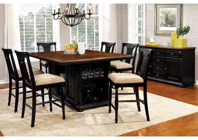 Sabrina Cherry and Black Counter Height Table w/6 Counter Height Chairs