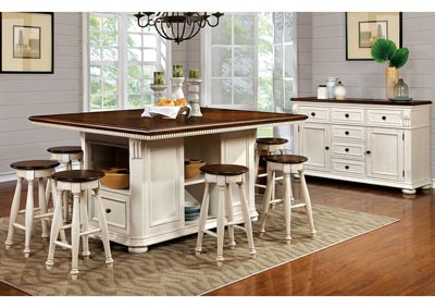 Sabrina Cherry and White Counter Height Table w/6 Counter Height Stools