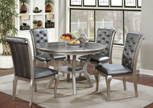 Amina Champagne Round Dining Table w/4 Side Chairs
