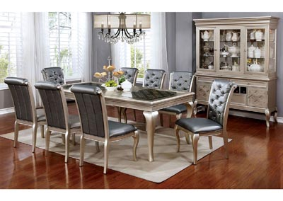 Amina Silver Dining Table w/6 Side Chairs
