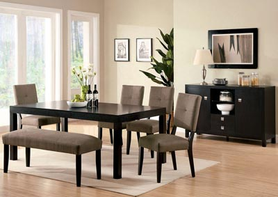 Bay Side I Espresso Dining Table w/Bench and 4 Side Chairs